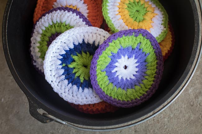 Close Up of Scrubbies in a Dutch Oven