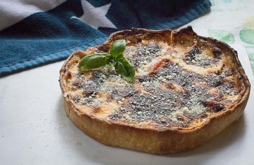 Tomato Basil Tart finshed with sprinkle of parm and basil