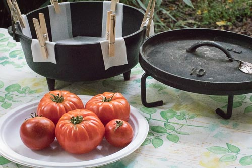 Tomatoes with prepared 10-inch Camp Dutch Oven and Lid